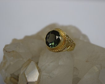 14k Gold Green Quarz Filigree Ring