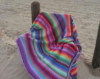 Crochet Afghan, granny stripe afghan, Crochet Afghan, Crochet blanket, crochet blanket, striped blanket/afghan inspired by attic 24 bedroom