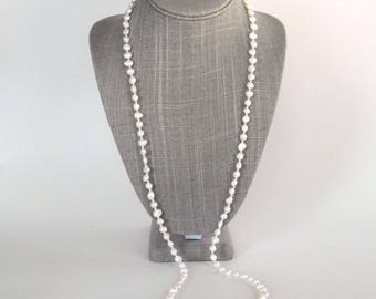 Long Pearl Necklace - White Freshwater Pearl Necklace - Single Strand - Pearl Rope - Pearls and Silver - 36 Inches - Gift for Her