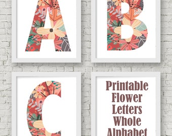 FLOWERY ALPHABET, 26 Flowery Letters in vertical 5x7 Printable, instant download