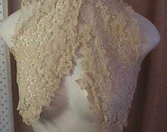 Antique Ecru Lace Small Bolereo, Unfinished  Lace is  beautiful.  Hooks at Neck.  #1159