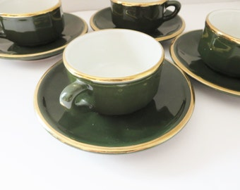 Apilco Espresso vintage 1980's green coffee cup and saucer, Mocha cup, French Apilco, Coffee, Espresso cup