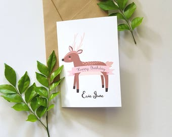 Whimsical Deer Personalised Children's Happy Birthday Card