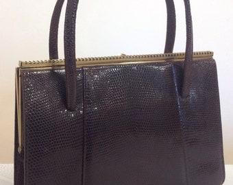 Vintage dark brown lizard skin handbag made in England Marquessa