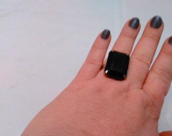 Vintage Collection -  Black plastic stone adjustable ring