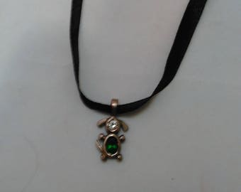 Black satin ribbon with Silver Color Metal and Green Glass stone dog pendant Necklace