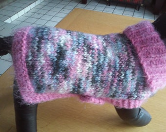 Small Pink Dog Coat / Small Dog Jacket /Small Pink and Gray Dog Apparel/ Small Pink Dog Clothing / S Hand Knit Dog Attire / Pink Dog Outfit