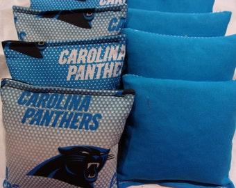 8 ACA Regulation Cornhole Bags - 4 handmade from Carolina Panthers Fabric & 4 Solid Turquoise