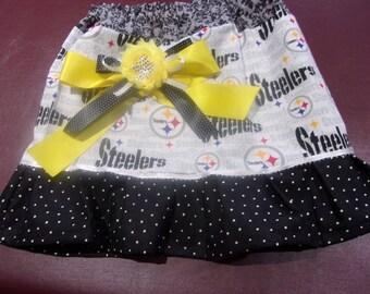 Girls Skirt Size Newborn to 5T NFL Pittsburgh Steelers Skirt - Handmade