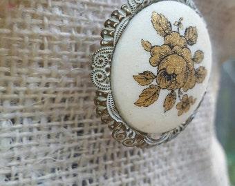 Vintage German Composite Gold Rose Motif Necklace with 1/20 GF 12K Chain