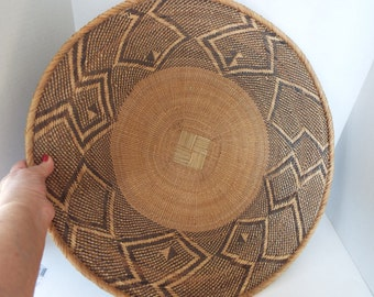 """vintage large  African Winnowing  hand woven basket  tray 23"""""""