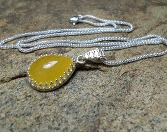 Bermese Yellow Jade Necklace, Fine Jewelry,Yellow Stone Necklace, Gemstone Necklace,Bermese Jade Jewelry, Sterling Silver Necklace,Bezel Set