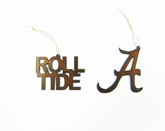 Alabama A (2) or Roll Tide ornaments made out of rusted metal