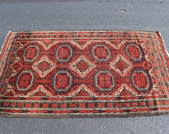 Antique 1920s Persian Baluch rug 3'7'' x 6'0''