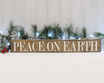 Peace On Earth Block Sign- Hand Painted Wooden Block- Country Decor- Wooden Blocks- Vintage Style- Distressed- Home Decor