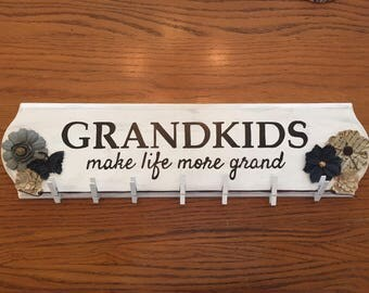 Custom Hand Painted Wood Sign - Grandkids Make Life More Grand