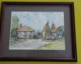 Original Vintage Watercolour of Oast HouseFloat Farm Oast, Udimore, Rye