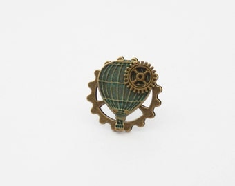 Steampunk Tie Clip, Hot Air Balloon tie Clip, Gear Tie Pin, Steampunk Pin, Verdigris Patina Pin, Wanderer Tie Clip, Victorian Tie Pin