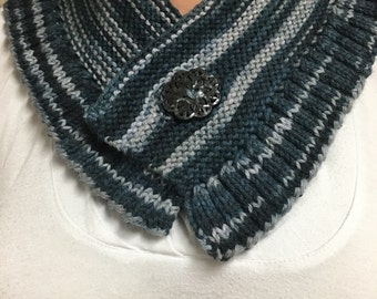 Blue and Grey Hand Knit Neck Warmer