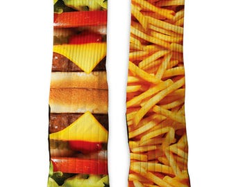 Custom Burger and Fries SS Athletic Socks