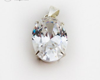 Large Faceted Cubic Zirconia Pendant Sterling Silver Frame