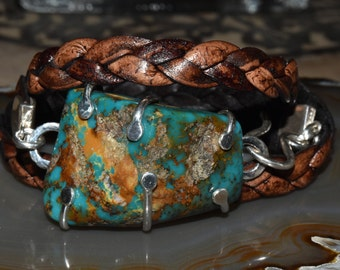 Turquoise Nugget Distressed Leather Wrap Bracelet Sterling 3x Braided Wrap Bracelet
