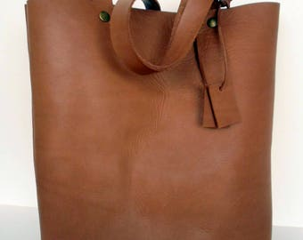Brown Leather Tote Bag,Leather Bag,Brown Leather Travel Bag ,Brown Leather Tote,RWOODB Leather Tote