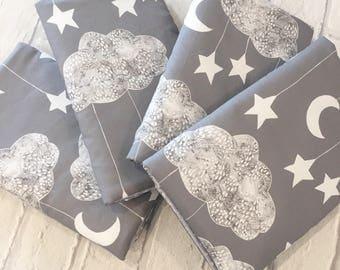 Lullaby Cot Bar Bumpers - Grey - Clouds Moon Stars - Cot Bedding, Nursery Decor, Crib Bumper, Cot Bumper
