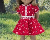 American Girl or 18 Inch Doll DRESS in Red White Knit with BELT Headband and SANDALS Option