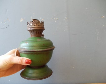 Vintage table OIL lamp / Rustic EMERALD /  Home decor USSR era 50's