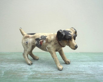 Antique Cold Painted Lead Dog Miniature Figure, Vintage Jack Russell Terrier Puppy Ornament