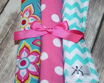 Custom Pink & Teal Burp Cloth Set - You pick your colors