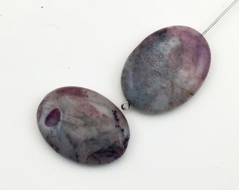 2 purple crazy lace agate stone beads,20mm x 30mm #PP 253