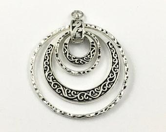 1 swirl pendant silver tone ,46mm   #CON068
