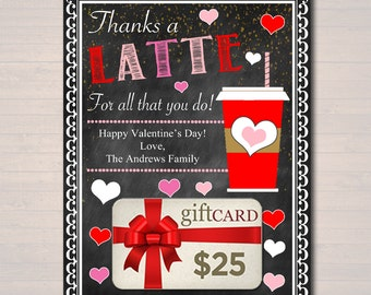 EDITABLE Coffee Card Holder, Thanks a Latte Valentine Gift Card Holder Printable, Valentine's Day Teacher Gifts, Babysitter INSTANT DOWNLOAD
