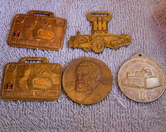 4 International Harvester- 1 McCormick Coin- Ag Vintage Watch Fobs Lot