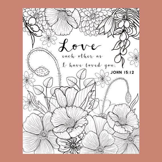 John 15 12 Coloring Page Love Coloring Page Adult Coloring