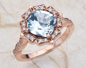 Aquamarine Engagement Ring Rose Gold, Aquamarine Scalloped Halo Engagement Ring Rose Gold, Aquamarine Rose Gold, Rose Gold Aquamarine Ring