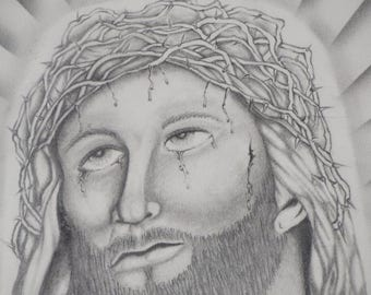"Jesus Pencil Drawing on cardboard - Catholic Gift - Sketch of Jesus Christ-  Jesus and the crown Drawing  7.5"" X 10"""