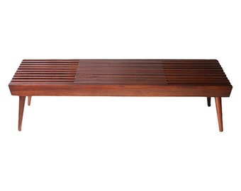 Walnut Expanding Slat Coffee Table or Bench - Mid Century Modern