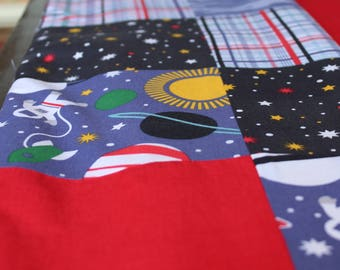 Boys Astronaut Space Quilt in Red and Yellow