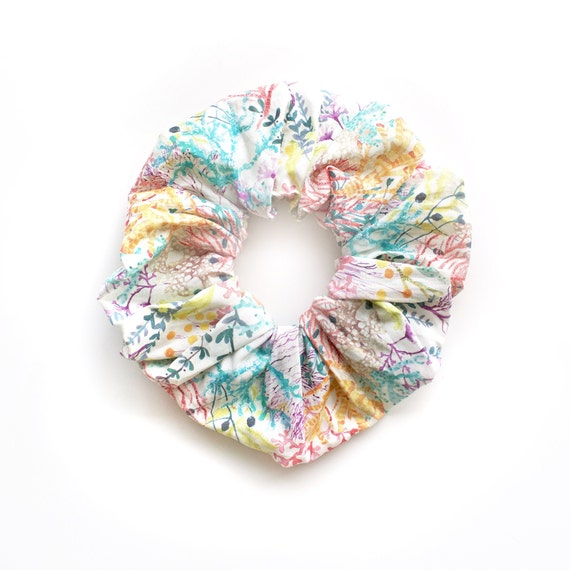 CORAL REEF. Hair Scrunchy or Scrunchie. Coral and See weeds Hair Scrunchies. Hair Accessories. Retro Accessory
