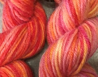 Bright Shades  Hand-Dyed 100% Australian Wool, 8 ply DK