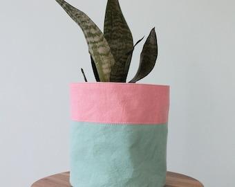 COLORFUL TEXTILE PLANTER - color block seafoam and coral pink cloth planter cozy