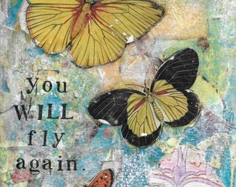 You Will Fly Again, 8x10 print of original mixed-media collage