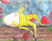 Rest Stop / Special Delivery Part Two - Salted Watercolor, Print, Humpty Dumpty, Fairy Tale Art