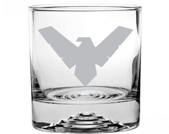 Nightwing Etched Rocks Glass Personalized
