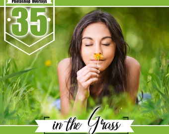 35 grass and flowers photo overlays, photoshop overlay, photo overlays, wedding baby photo session, digital background, PNG files