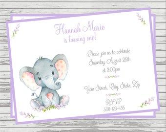 Elephant Themed First Birthday DIGITAL Invitation.