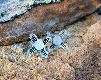 New Mexico mirrored Zia Studs